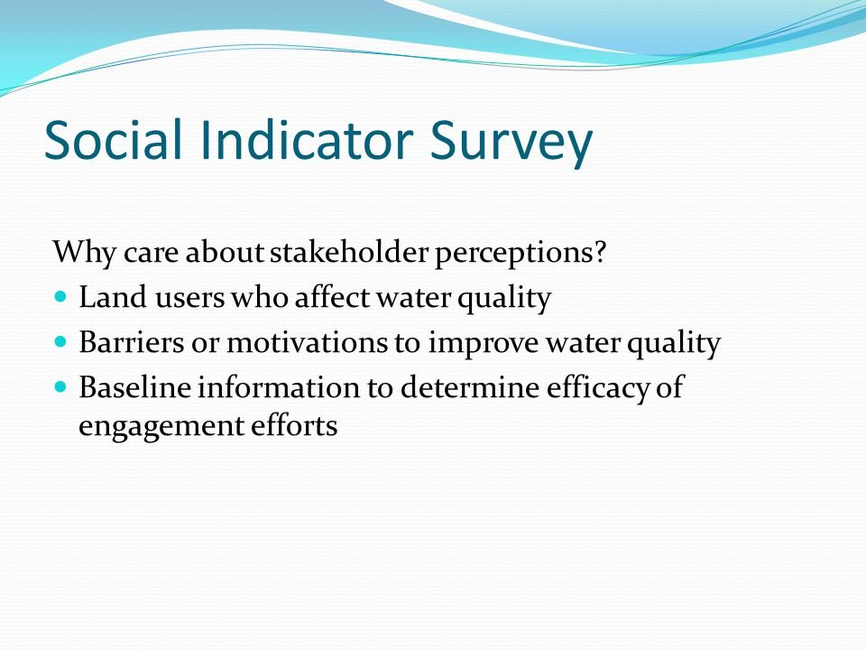 Social Indicator Survey Why care about stakeholder perceptions.