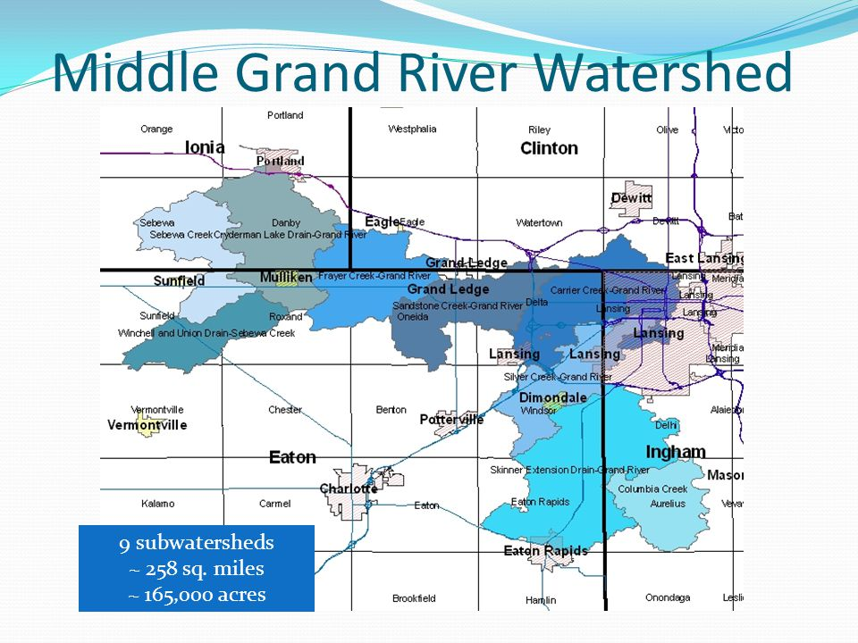 Middle Grand River Watershed 9 subwatersheds ~ 258 sq. miles ~ 165,000 acres