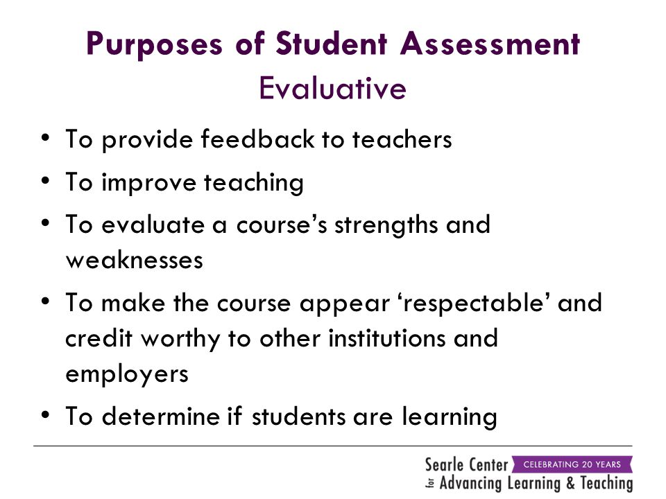Purposes of Student Assessment Evaluative To provide feedback to teachers To improve teaching To evaluate a course's strengths and weaknesses To make the course appear 'respectable' and credit worthy to other institutions and employers To determine if students are learning
