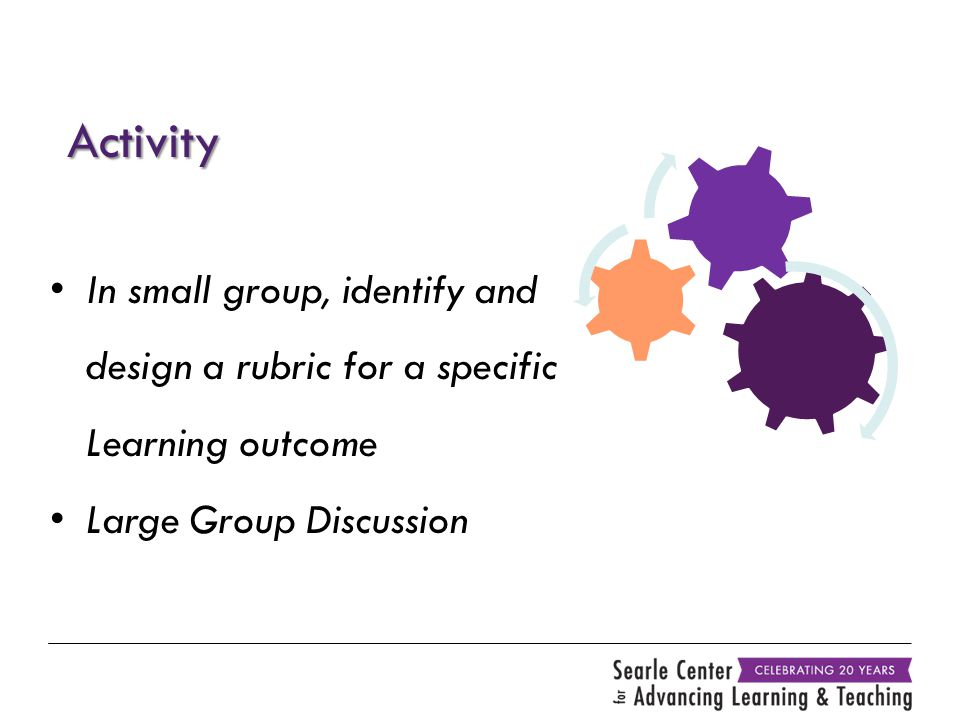 Activity In small group, identify and design a rubric for a specific Learning outcome Large Group Discussion