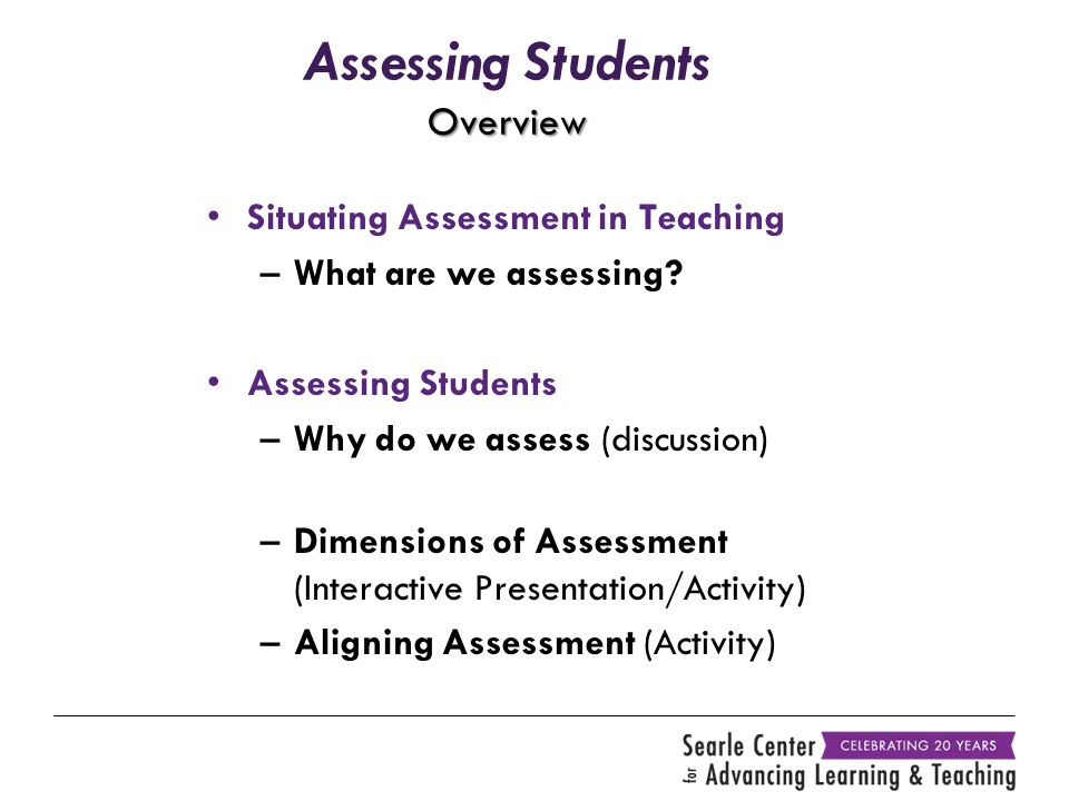 Overview Assessing Students Overview Situating Assessment in Teaching –What are we assessing.