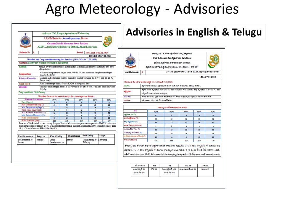 Agro Meteorology - Advisories Advisories in English & Telugu