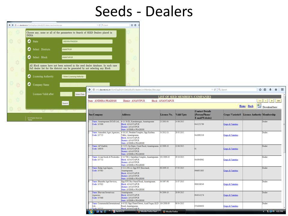 Seeds - Dealers