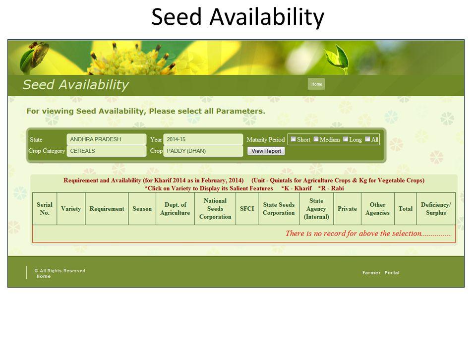 Seed Availability