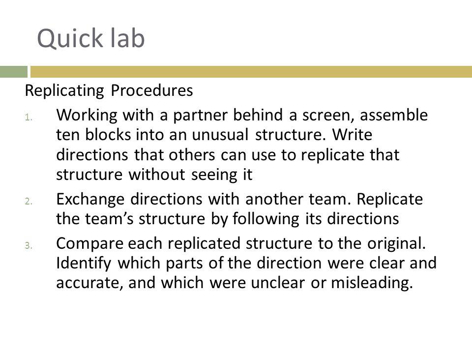 Quick lab Replicating Procedures 1.