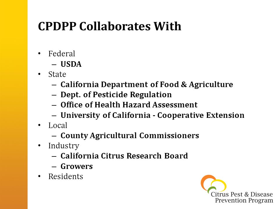 CPDPP Collaborates With Federal – USDA State – California Department of Food & Agriculture – Dept.