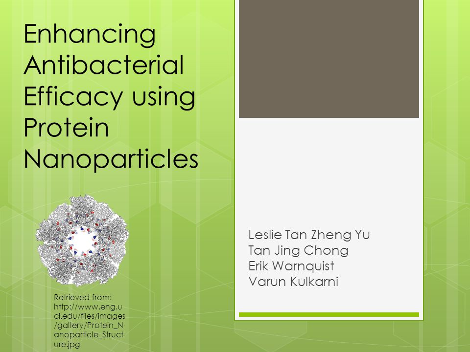 Enhancing Antibacterial Efficacy using Protein Nanoparticles Leslie Tan Zheng Yu Tan Jing Chong Erik Warnquist Varun Kulkarni Retrieved from: http://www.eng.u ci.edu/files/images /gallery/Protein_N anoparticle_Struct ure.jpg