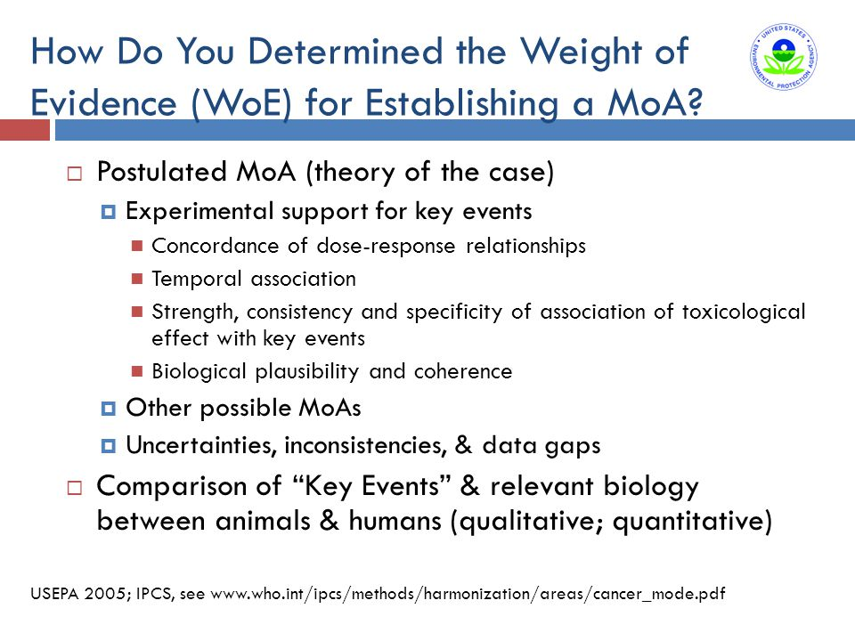 How Do You Determined the Weight of Evidence (WoE) for Establishing a MoA?  Postulated MoA (theory of the case)  Experimental support for key events