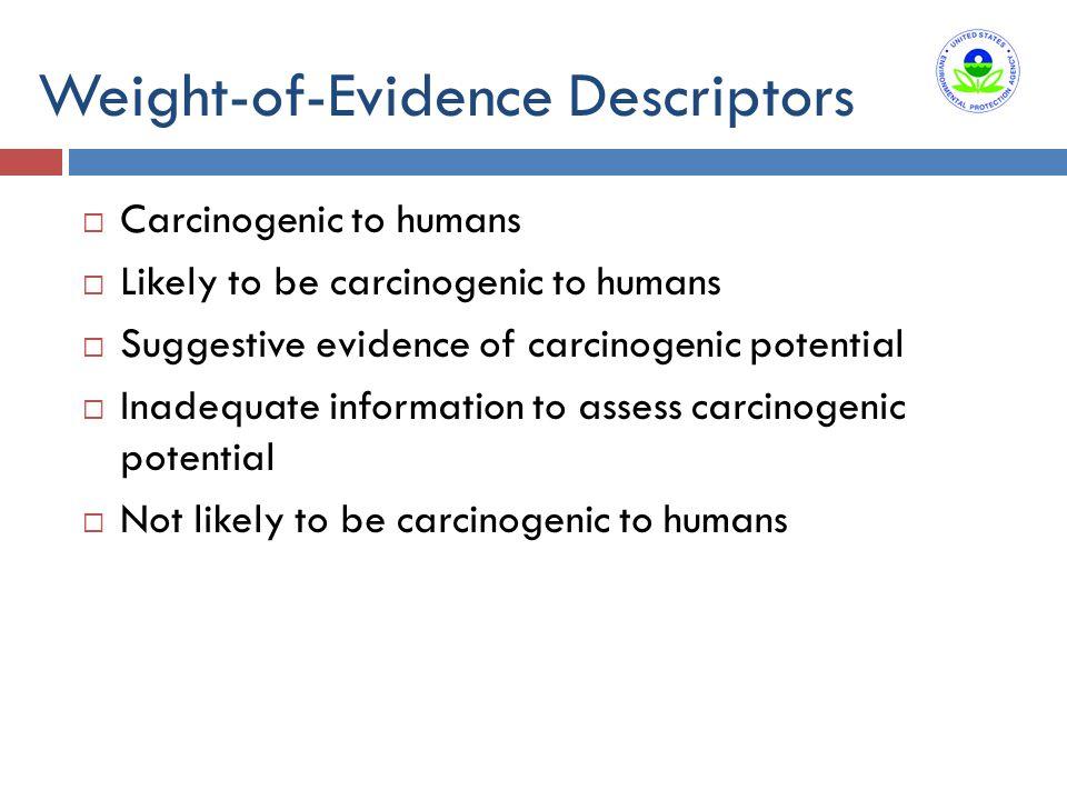 Weight-of-Evidence Descriptors  Carcinogenic to humans  Likely to be carcinogenic to humans  Suggestive evidence of carcinogenic potential  Inadeq