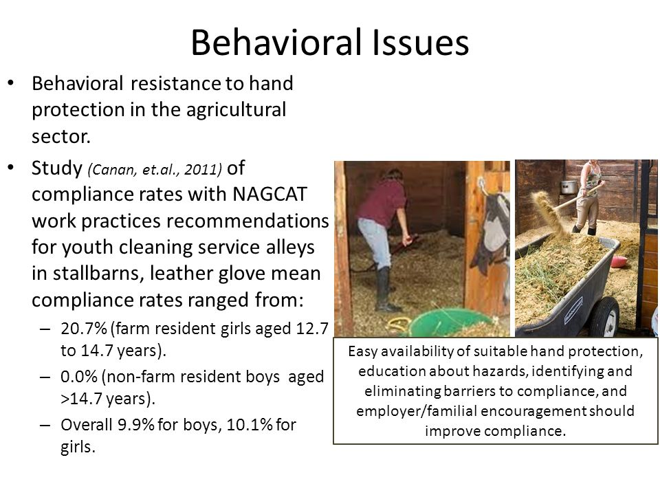 Behavioral Issues Behavioral resistance to hand protection in the agricultural sector.