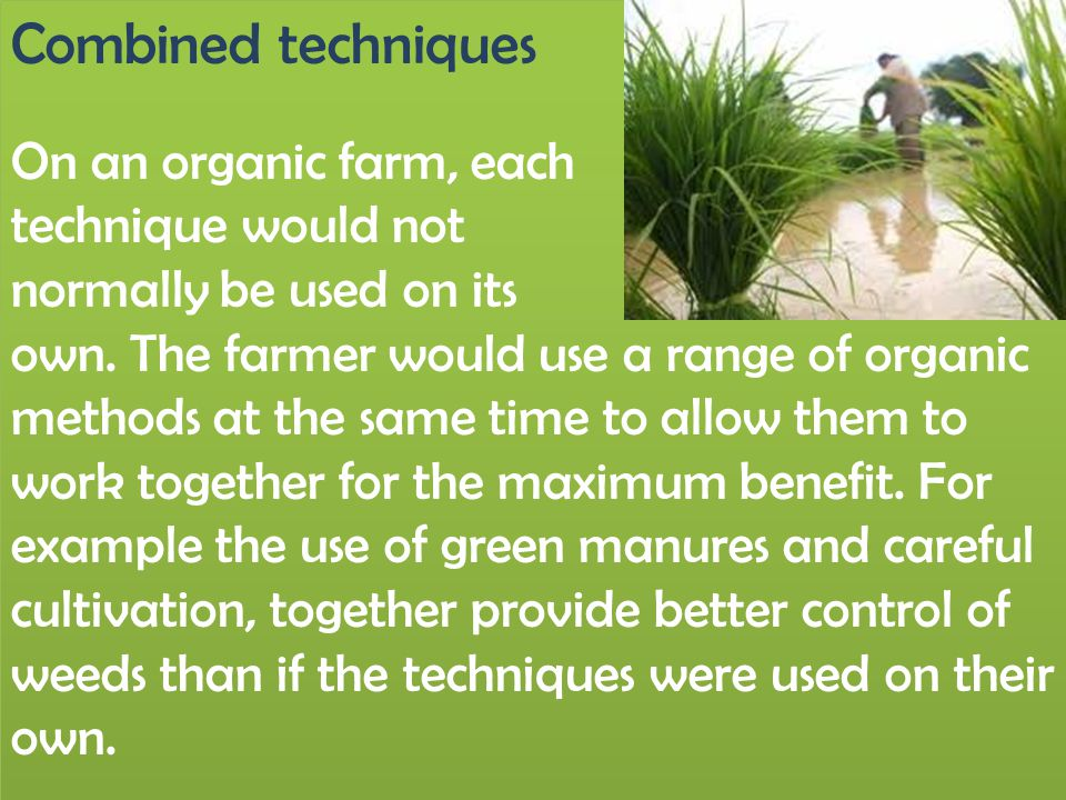 Combined techniques On an organic farm, each technique would not normally be used on its own. The farmer would use a range of organic methods at the s