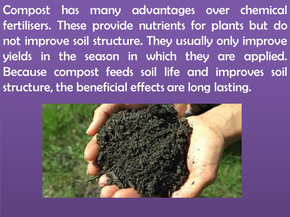 Compost has many advantages over chemical fertilisers. These provide nutrients for plants but do not improve soil structure. They usually only improve