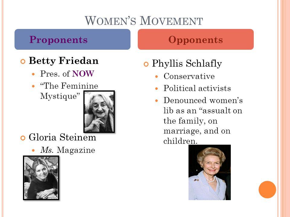 W OMEN ' S M OVEMENT Betty Friedan Pres. of NOW The Feminine Mystique Gloria Steinem Ms.