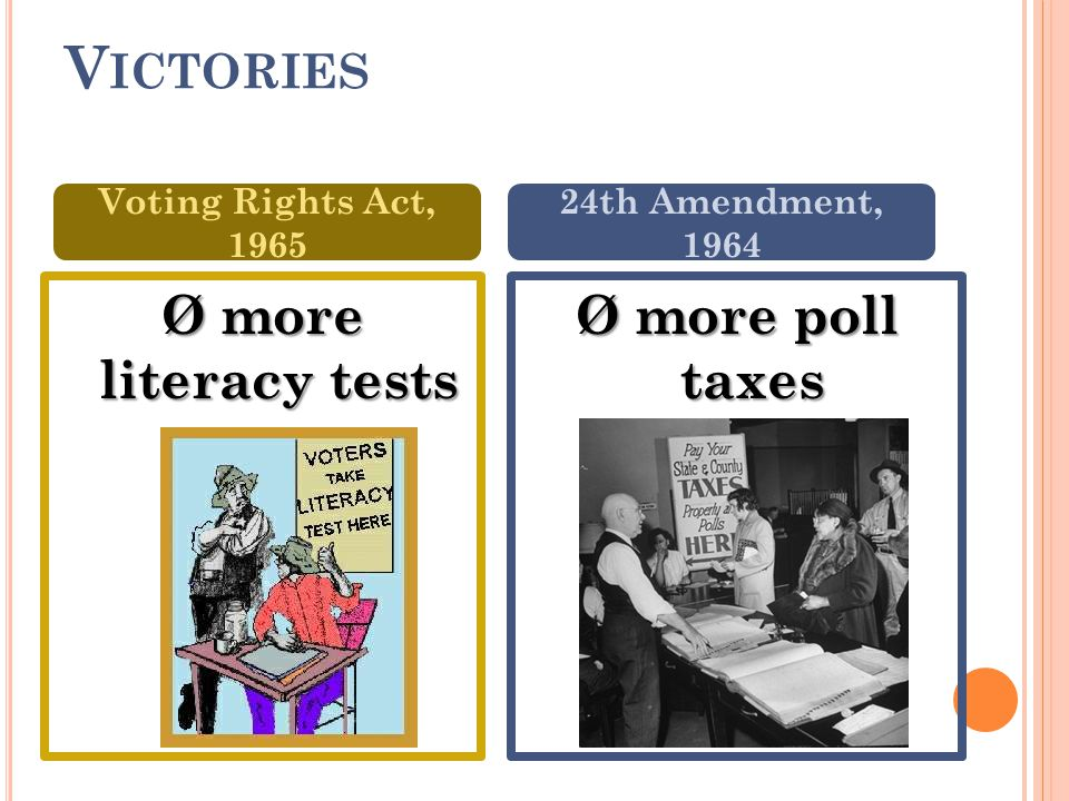 V ICTORIES Ø more literacy tests Ø more poll taxes Voting Rights Act, 1965 24th Amendment, 1964