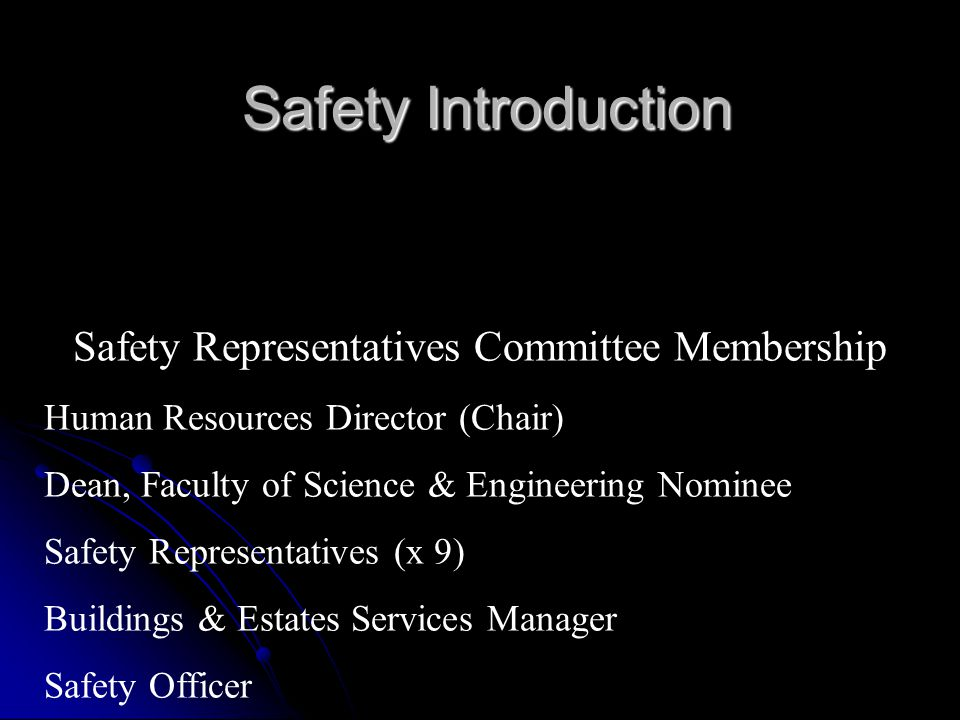 Safety Representatives Committee Membership Human Resources Director (Chair) Dean, Faculty of Science & Engineering Nominee Safety Representatives (x