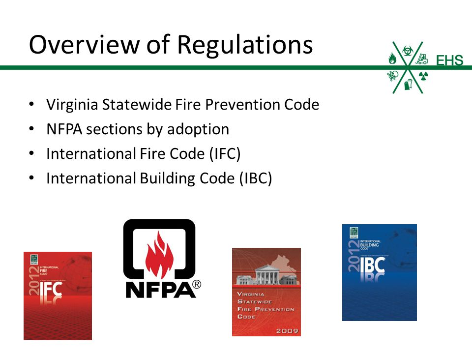 Overview of Regulations Virginia Statewide Fire Prevention Code NFPA sections by adoption International Fire Code (IFC) International Building Code (IBC)