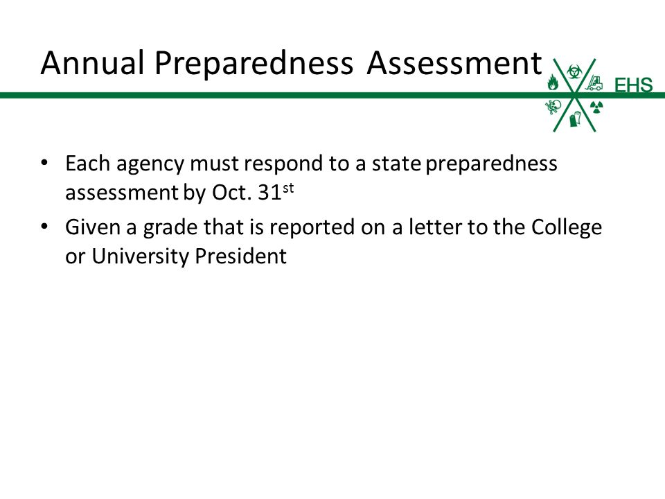Annual Preparedness Assessment Each agency must respond to a state preparedness assessment by Oct.