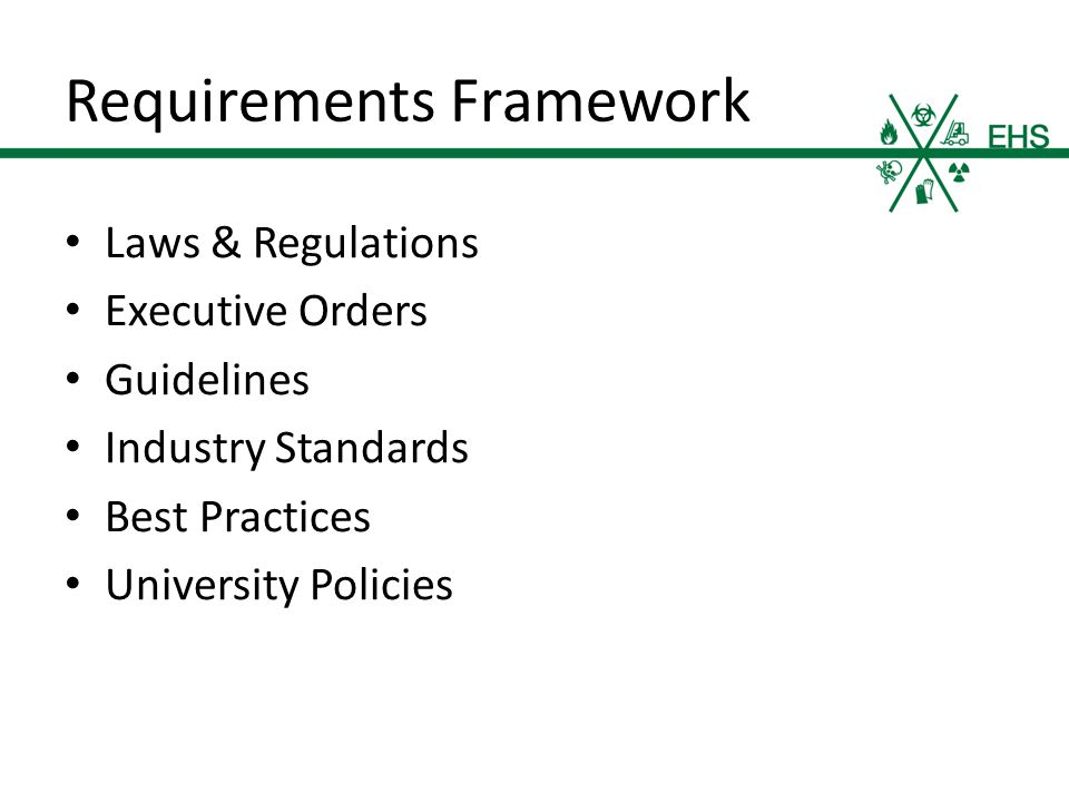 Requirements Framework Laws & Regulations Executive Orders Guidelines Industry Standards Best Practices University Policies