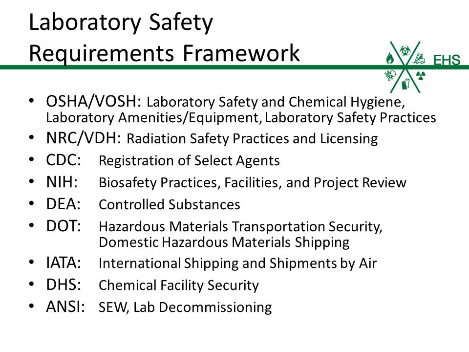 OSHA/VOSH: Laboratory Safety and Chemical Hygiene, Laboratory Amenities/Equipment, Laboratory Safety Practices NRC/VDH: Radiation Safety Practices and Licensing CDC: Registration of Select Agents NIH: Biosafety Practices, Facilities, and Project Review DEA: Controlled Substances DOT: Hazardous Materials Transportation Security, Domestic Hazardous Materials Shipping IATA: International Shipping and Shipments by Air DHS: Chemical Facility Security ANSI: SEW, Lab Decommissioning Laboratory Safety Requirements Framework