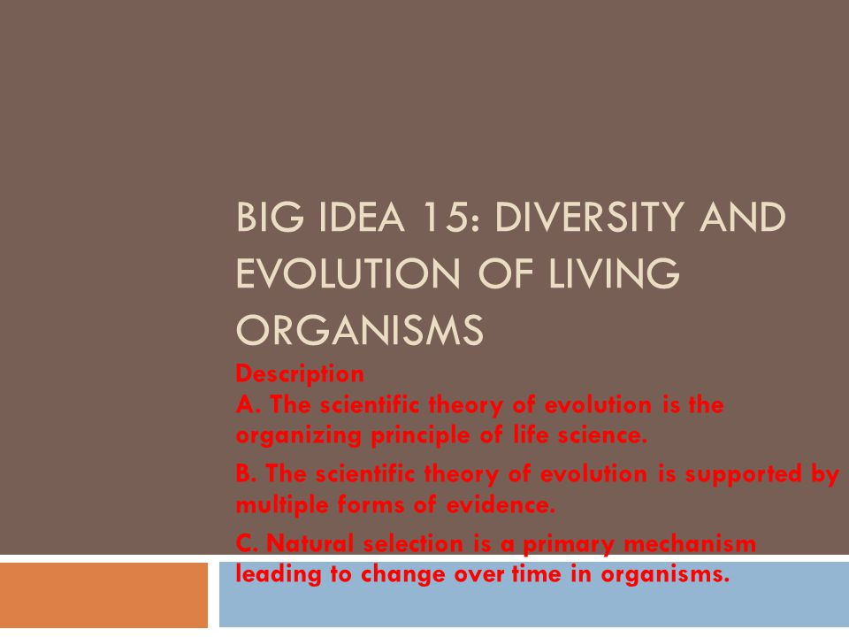 BIG IDEA 15: DIVERSITY AND EVOLUTION OF LIVING ORGANISMS Description A. The scientific theory of evolution is the organizing principle of life science