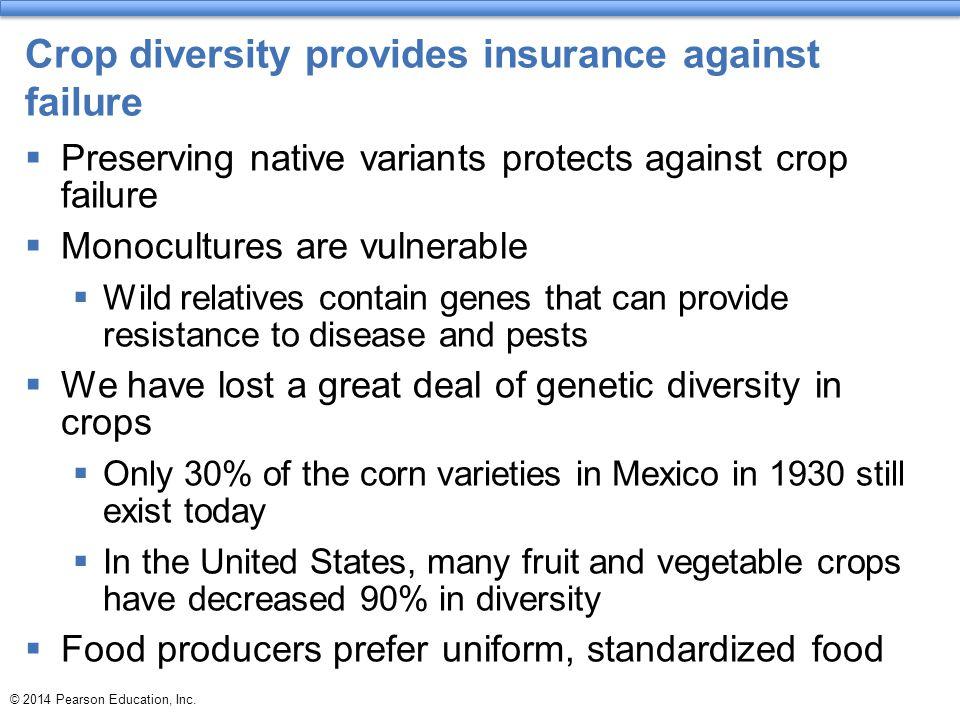 Crop diversity provides insurance against failure  Preserving native variants protects against crop failure  Monocultures are vulnerable  Wild rela