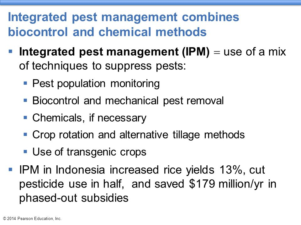 © 2014 Pearson Education, Inc. Integrated pest management combines biocontrol and chemical methods  Integrated pest management (IPM)  use of a mix o