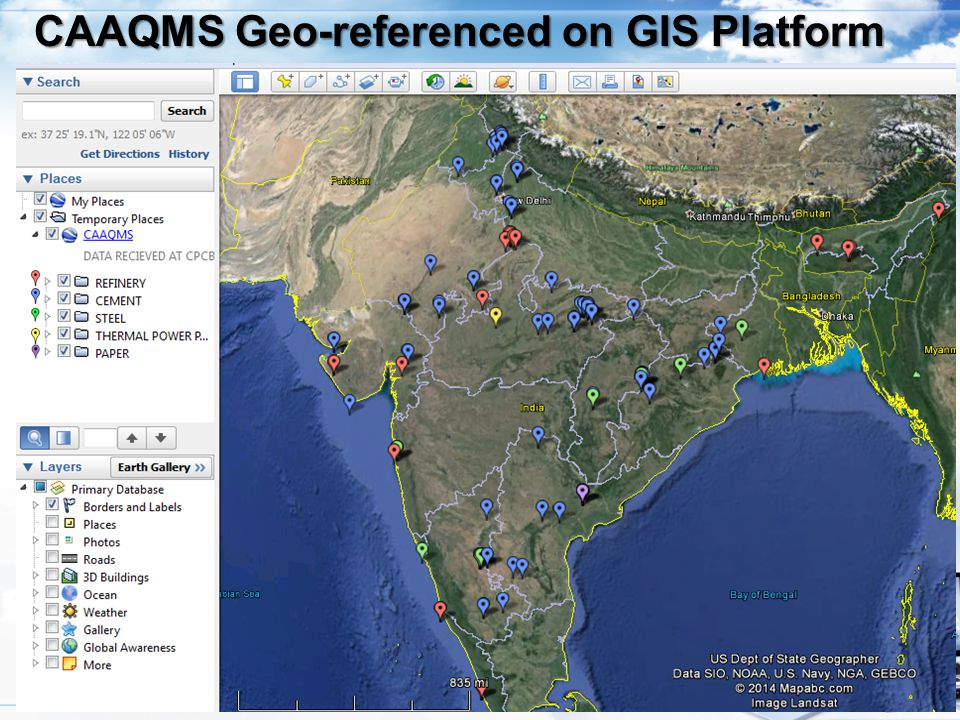 CAAQMS Geo-referenced on GIS Platform