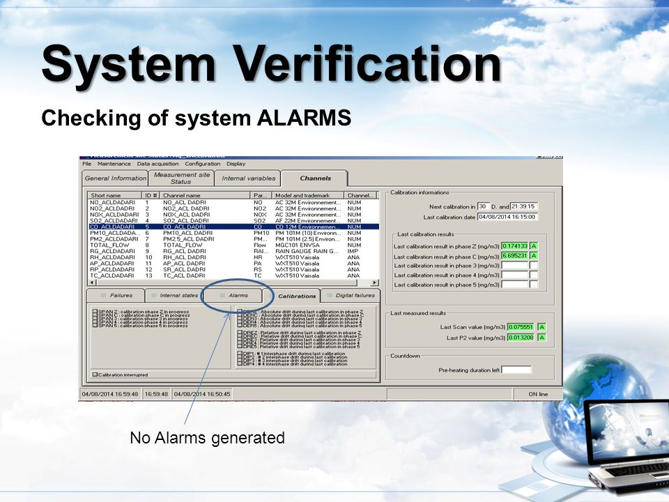 Checking of system ALARMS System Verification No Alarms generated