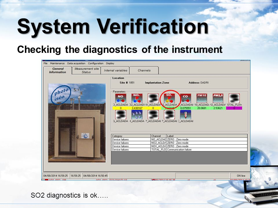 Checking the diagnostics of the instrument System Verification SO2 diagnostics is ok…..