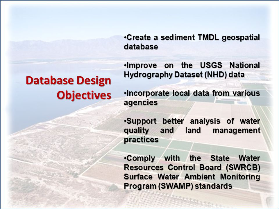 Sediment TMDL Related Data Total Suspended Solids (TSS), Turbidity, Monitoring locations (R7, IID, BOR) Surface Hydrology Network (NHD, IID) Agricultural Practices (ICFB Farm Reports) Drainsheds, Farm Plots (RI) Land ownership boundaries Owner/operator data (ICTA, IID)