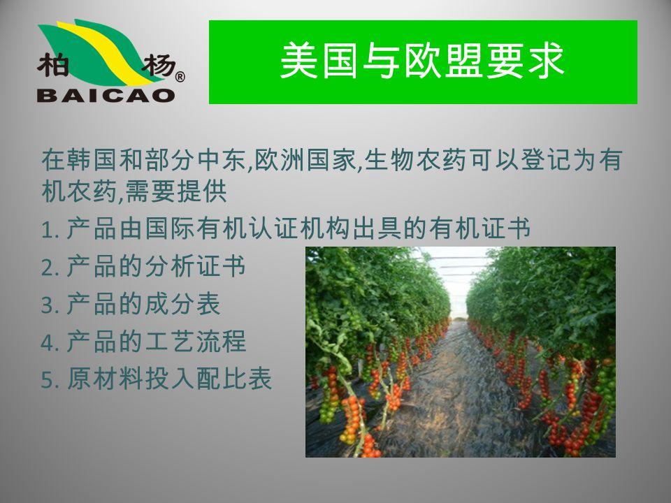 美国与欧盟要求 在韩国和部分中东, 欧洲国家, 生物农药可以登记为有 机农药, 需要提供 1. 产品由国际有机认证机构出具的有机证书 2.