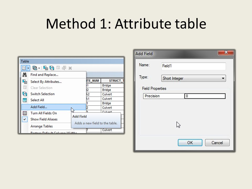 Method 1: Attribute table