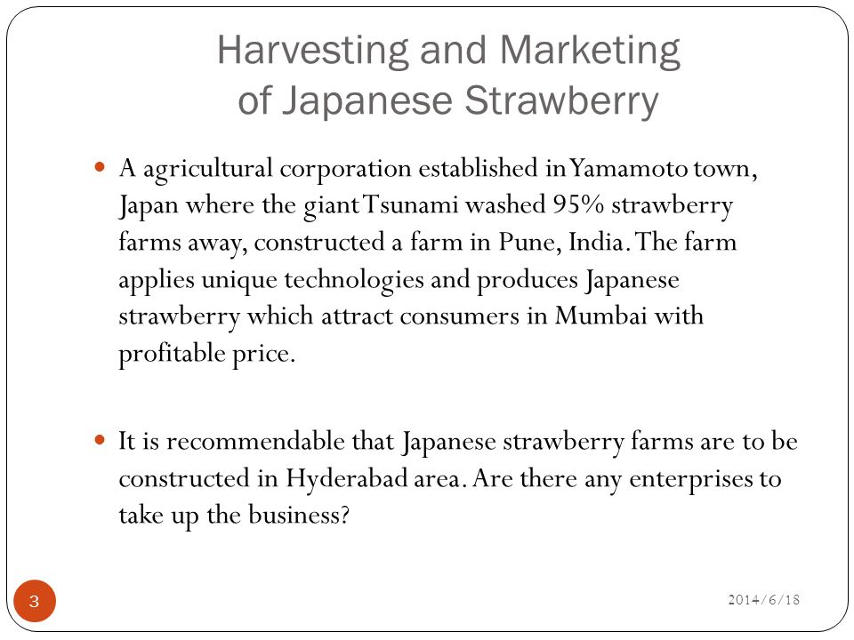 Harvesting and Marketing of Japanese Strawberry 3 A agricultural corporation established in Yamamoto town, Japan where the giant Tsunami washed 95% strawberry farms away, constructed a farm in Pune, India.
