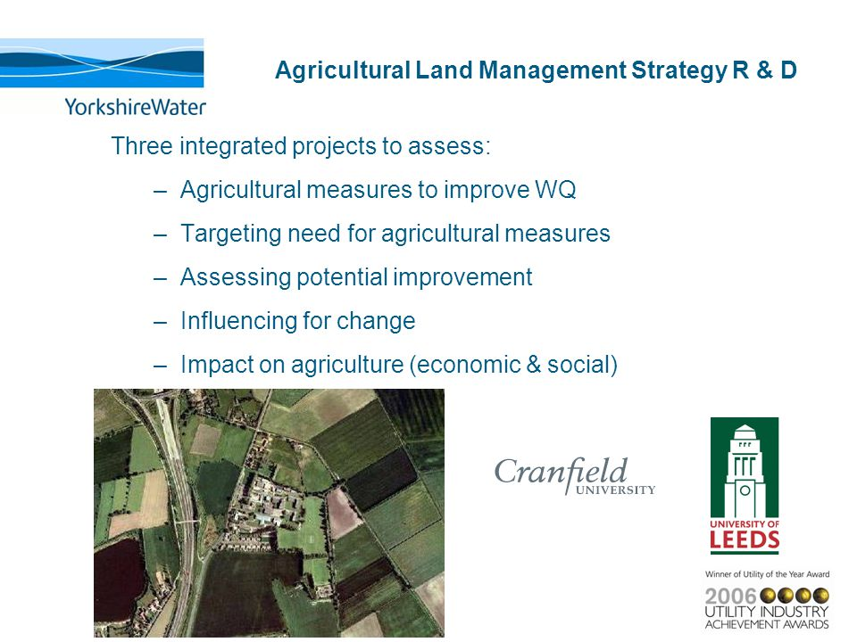 Agricultural Land Management Strategy R & D Three integrated projects to assess: –Agricultural measures to improve WQ –Targeting need for agricultural measures –Assessing potential improvement –Influencing for change –Impact on agriculture (economic & social)