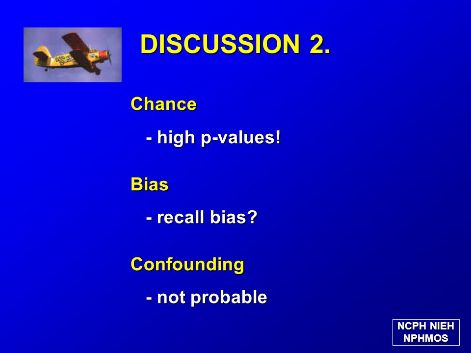 DISCUSSION 2. Chance - high p-values. - high p-values!Bias - recall bias.