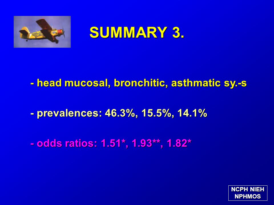 SUMMARY 3. - head mucosal, bronchitic, asthmatic sy.-s - prevalences: 46.3%, 15.5%, 14.1% - odds ratios: 1.51*, 1.93**, 1.82* NCPH NIEH NPHMOS