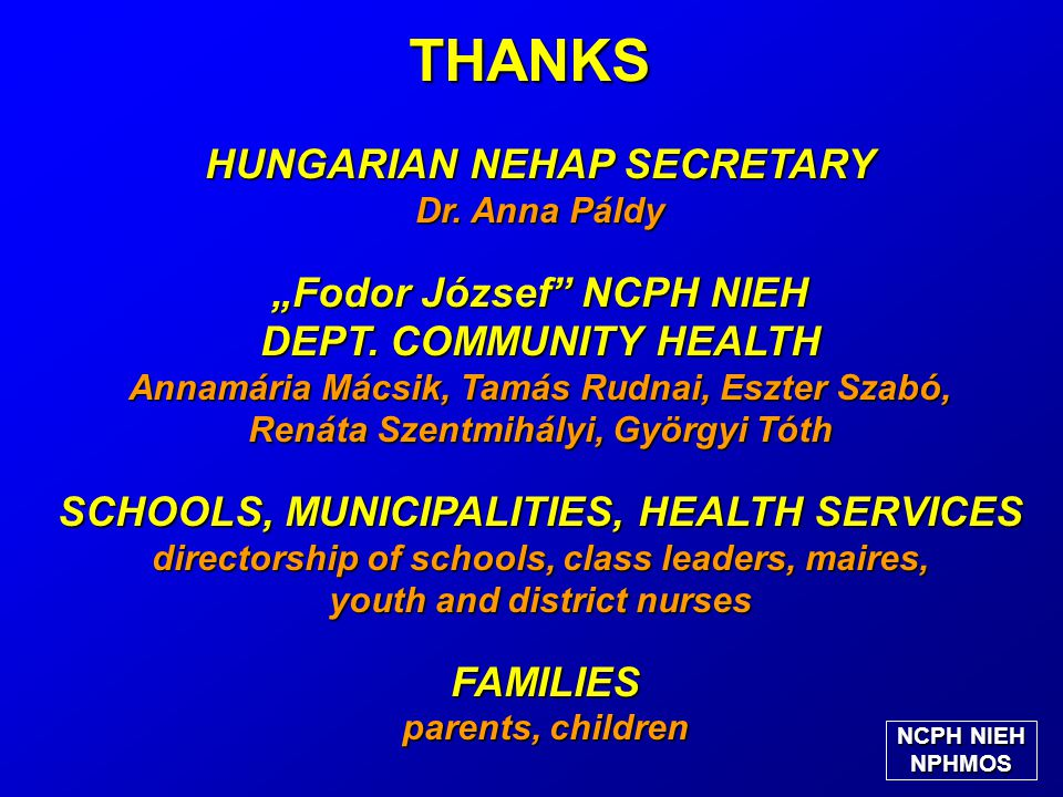 "HUNGARIAN NEHAP SECRETARY Dr. Anna Páldy ""Fodor József NCPH NIEH DEPT."