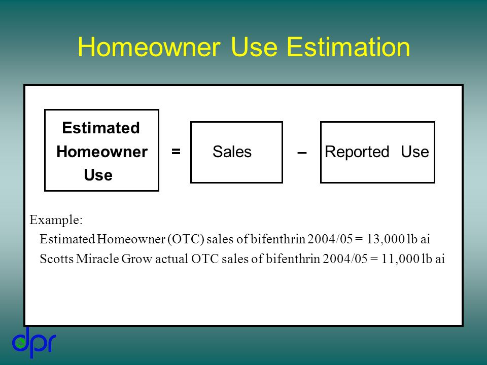 Homeowner Use Estimation Estimated Homeowner = Sales – Reported Use Use Example: Estimated Homeowner (OTC) sales of bifenthrin 2004/05 = 13,000 lb ai Scotts Miracle Grow actual OTC sales of bifenthrin 2004/05 = 11,000 lb ai