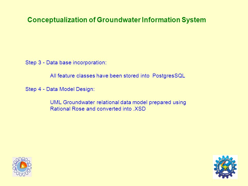 Conceptualization of Groundwater Information System Step 3 - Data base incorporation: All feature classes have been stored into PostgresSQL Step 4 - Data Model Design: UML Groundwater relational data model prepared using Rational Rose and converted into.XSD