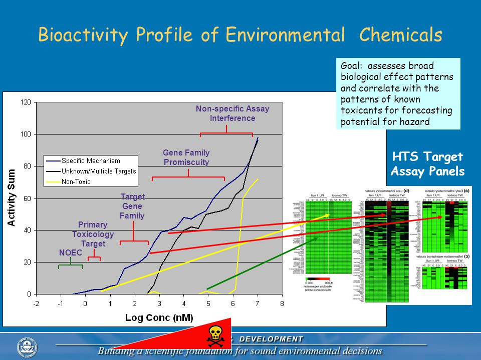 Bioactivity Profile of Environmental Chemicals NOEC Primary Toxicology Target Target Gene Family Gene Family Promiscuity Non-specific Assay Interference HTS Target Assay Panels Goal: assesses broad biological effect patterns and correlate with the patterns of known toxicants for forecasting potential for hazard