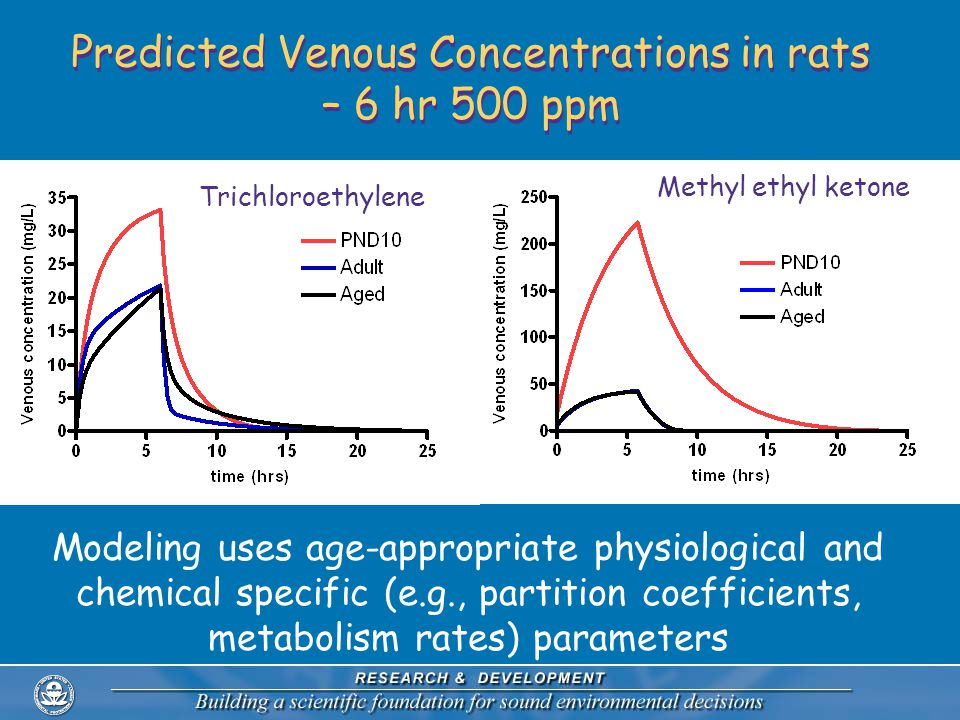 Predicted Venous Concentrations in rats – 6 hr 500 ppm Modeling uses age-appropriate physiological and chemical specific (e.g., partition coefficients