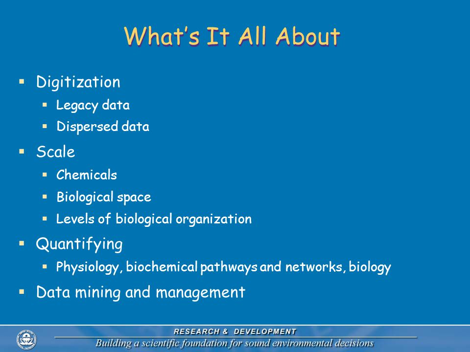 What's It All About  Digitization  Legacy data  Dispersed data  Scale  Chemicals  Biological space  Levels of biological organization  Quantifying  Physiology, biochemical pathways and networks, biology  Data mining and management