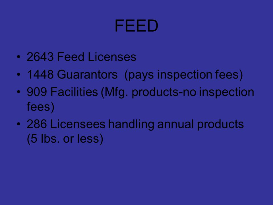 FEED 2643 Feed Licenses 1448 Guarantors (pays inspection fees) 909 Facilities (Mfg.