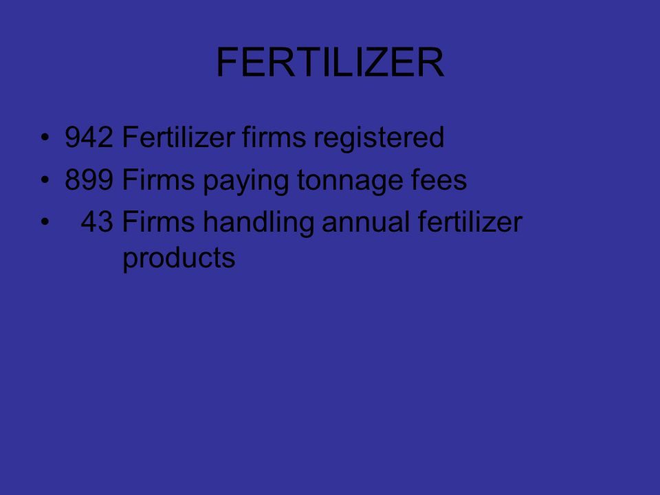 FERTILIZER 942 Fertilizer firms registered 899 Firms paying tonnage fees 43 Firms handling annual fertilizer products