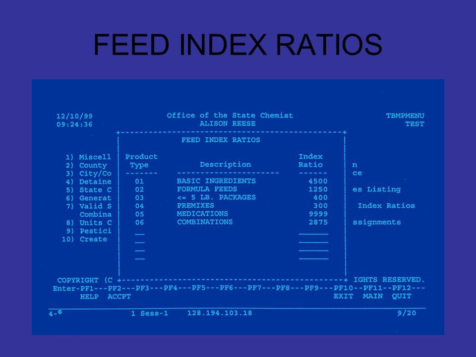 FEED INDEX RATIOS