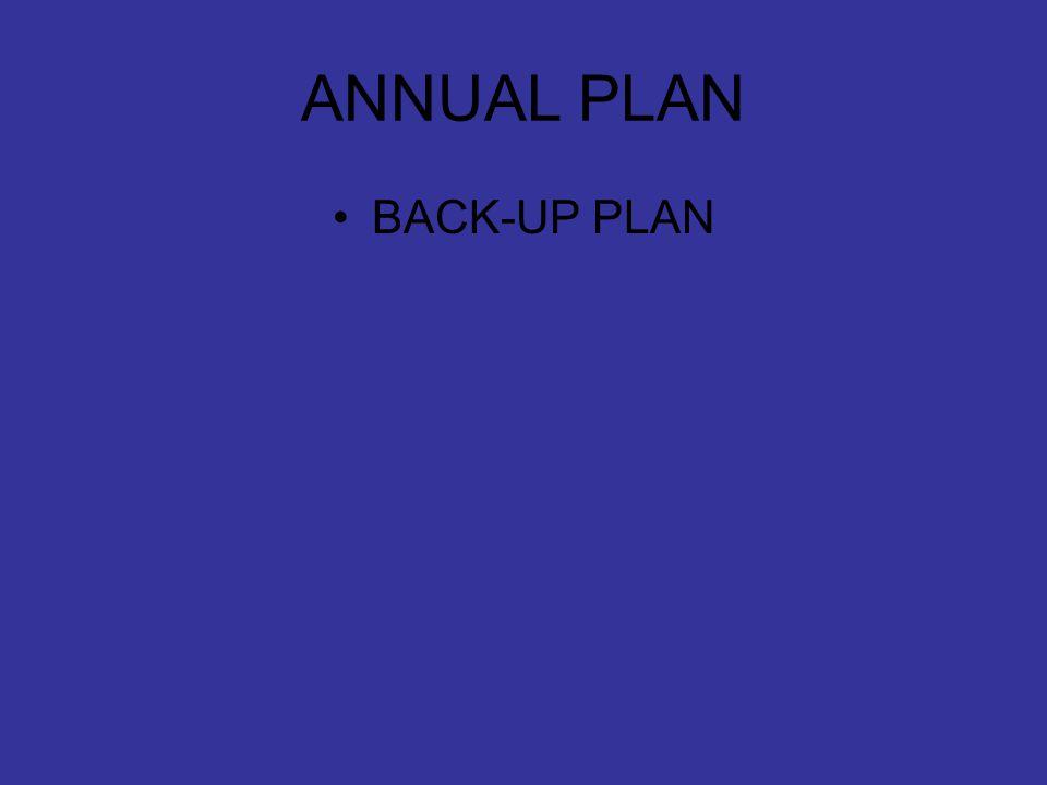 ANNUAL PLAN BACK-UP PLAN