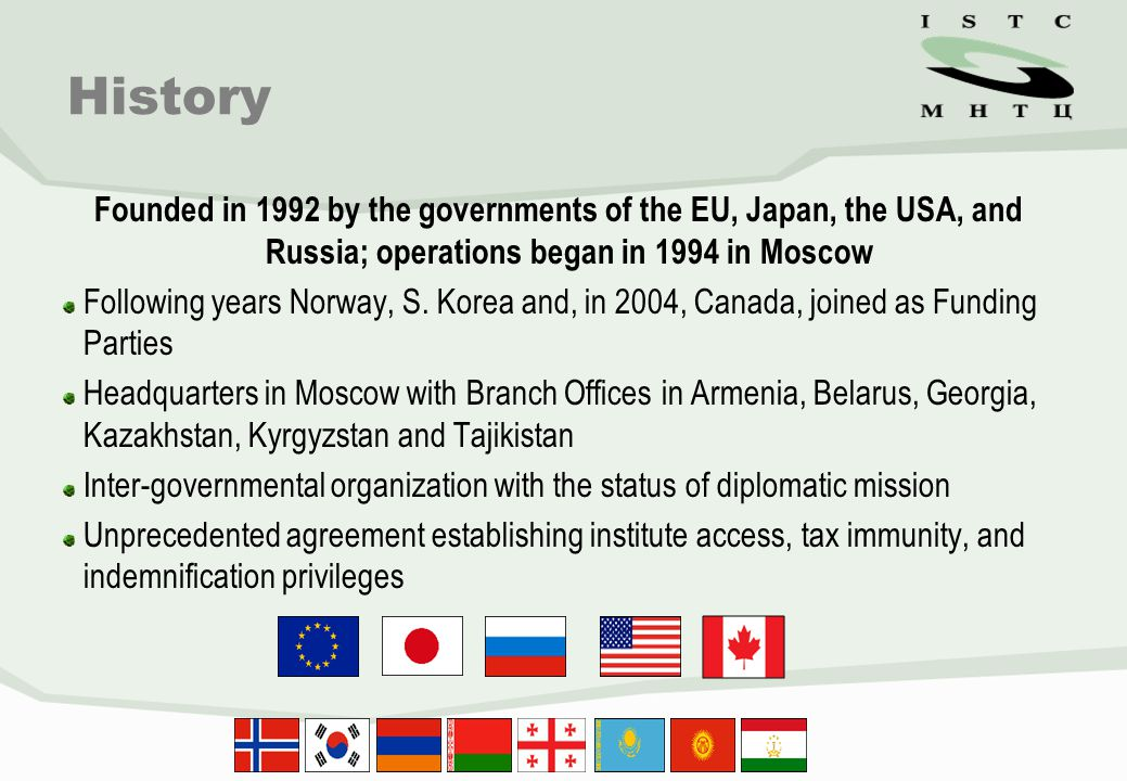 Founded in 1992 by the governments of the EU, Japan, the USA, and Russia; operations began in 1994 in Moscow Following years Norway, S. Korea and, in