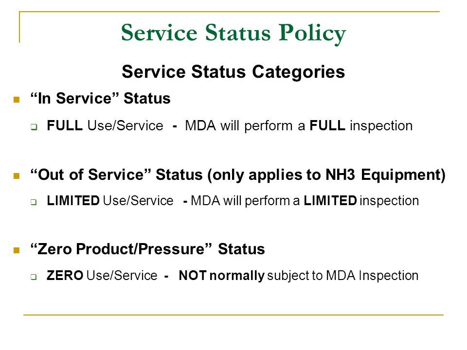 Service Status Policy Benefits of using the Service Status Policy.
