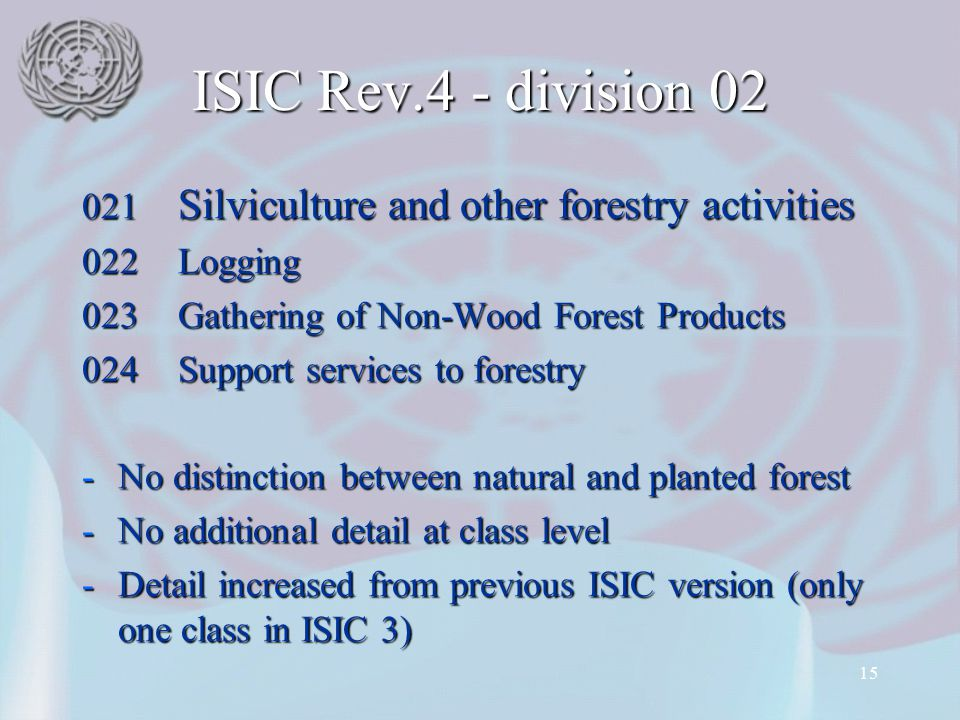 15 ISIC Rev.4 - division 02 021 Silviculture and other forestry activities 022Logging 023Gathering of Non-Wood Forest Products 024Support services to