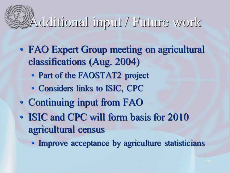 18 Additional input / Future work FAO Expert Group meeting on agricultural classifications (Aug. 2004)FAO Expert Group meeting on agricultural classif